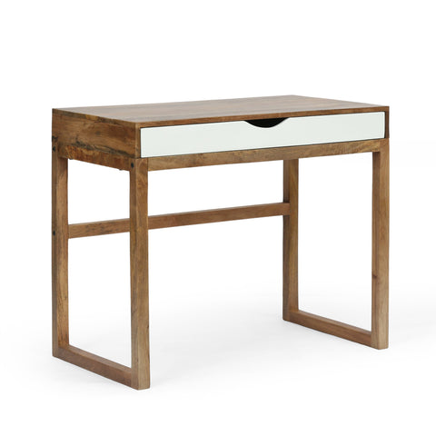 Contemporary Handcrafted Mango Wood Desk with Storage, Natural and White - NH323413