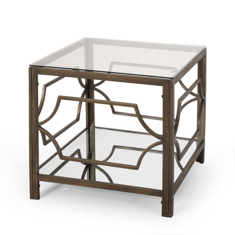 Modern Glam Mirrored End Table with Glass Top, Black Gold - NH333413