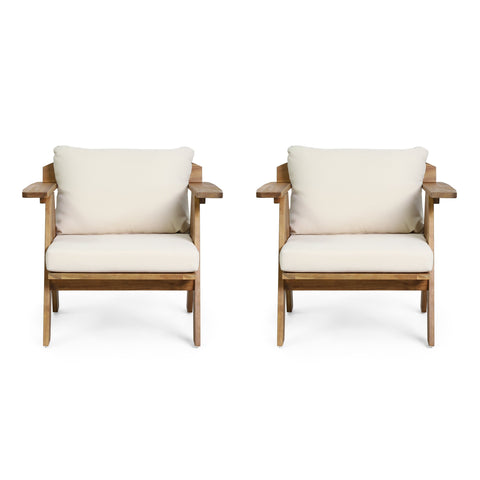 Outdoor Acacia Wood Club Chairs with Cushions (Set 2) - NH079313