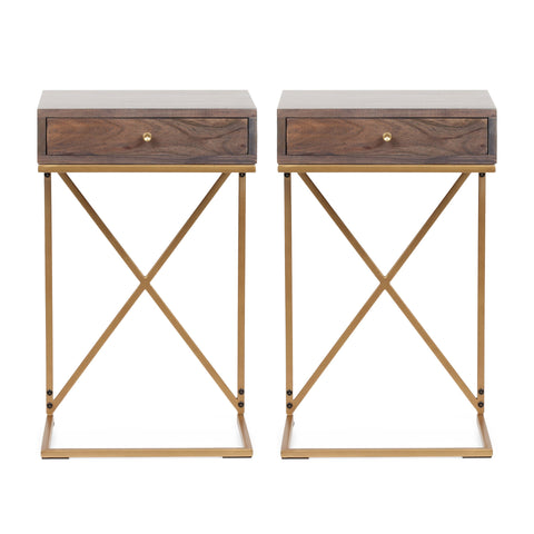 Rustic Glam Handcrafted Acacia Wood C-Shaped Side Tables, Set of 2, Dark Brown and Gold - NH124413