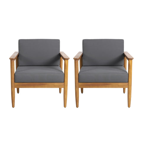 Outdoor Acacia Wood Club Chair (Set of 2) - NH916313