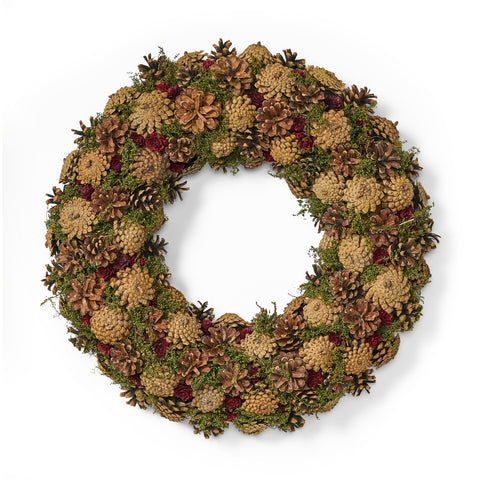 "18.5"" Pine Cone Unlit Artificial Christmas Wreath - NH266313"