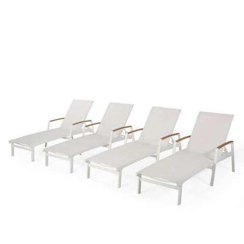 Outdoor Aluminum Chaise Lounge with Mesh Seating (Set of 4) - NH625313