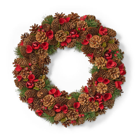 "18.5"" Pine Cone and Glitter Unlit Artificial Christmas Wreath - NH466313"