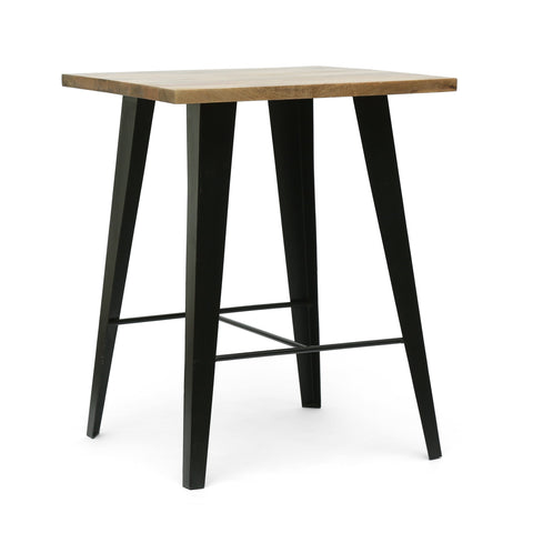 Handcrafted Modern Industrial Mango Wood Oversized Side Table, Natural and Black - NH355413