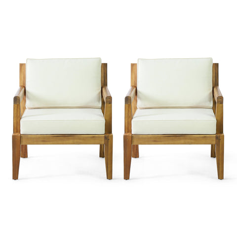 Outdoor Acacia Wood Club Chairs with Cushions, Set of 2, Teak and Beige - NH292413