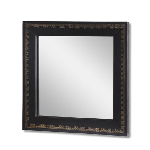 Handcrafted Boho Embossed Leather Square Wall Mirror - NH190413