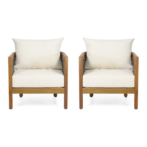 Outdoor Acacia Wood Club Chairs with Cushions, Set of 2 - NH179313