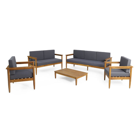 Outdoor Acacia Wood 7 Seater Chat Set - NH226313