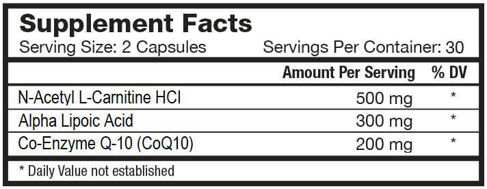 CoQ10, ALA, ACL HCl Supplement Facts