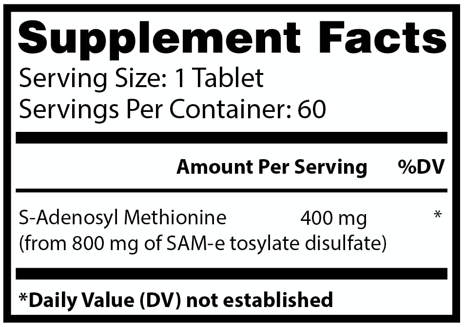 Nature's Lab SAMe Supplement Facts Banner