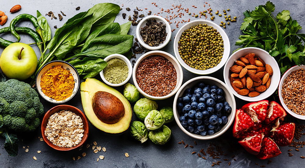 Assortment of super foods laid out on table