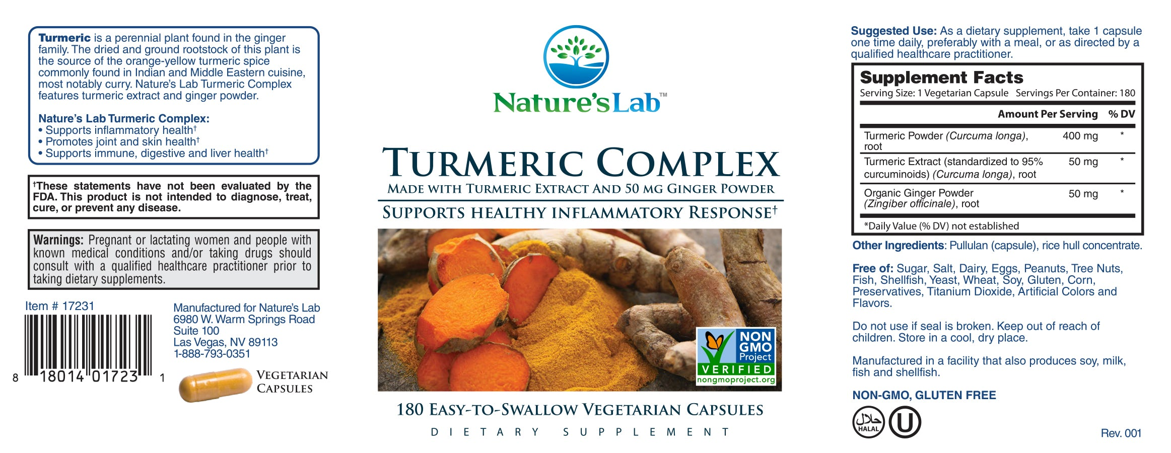 Nature's Lab Turmeric Complex Supplement Facts