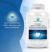 Load image into Gallery viewer, CoQ10 + Alpha Lipoic Acid + Acetyl L-Carnitine HCl 60 capsules