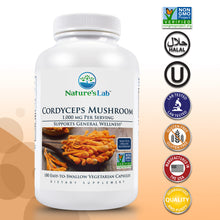 Load image into Gallery viewer, Cordyceps Mushroom 1000 mg 180 capsules