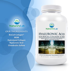 Hyaluronic Acid with BioCell Collagen® and MSM 60 capsules