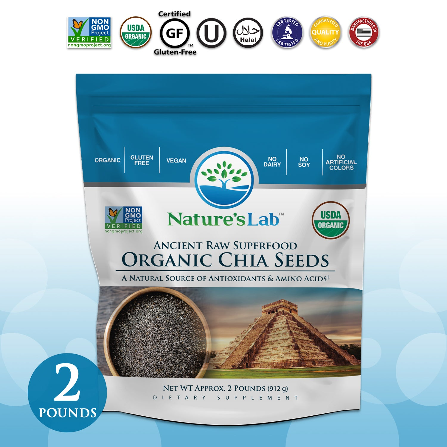 Organic Black Chia Seeds 2 lb bag