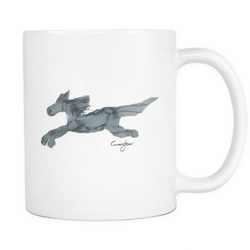 Flying Gray Horse in Watercolor (11oz White Mug) [NCH01]