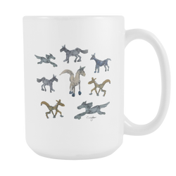 Whimsical Horse Herd in Watercolor (15 oz White Mug) [NCH01-05]