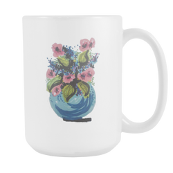 Floral Watercolor Mugs (15oz white)  [NCF01-04]