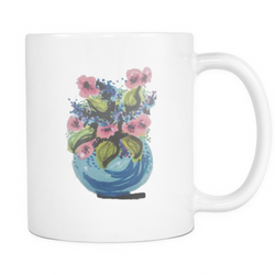 Floral Watercolor Mugs (11oz white)  [NCF01-04]
