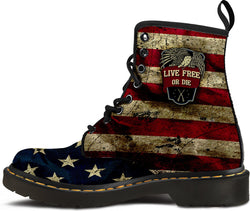 """Live Free Or Die"" Men's Suede Boots [064217M-PPSS]"