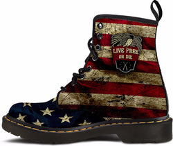 """Live Free Or Die"" Women's' Suede Boots [064016W-PPSS]"