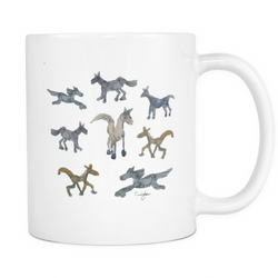 Whimsical Horse Herd in Watercolor (11 oz White Mug) [NCH01-05]