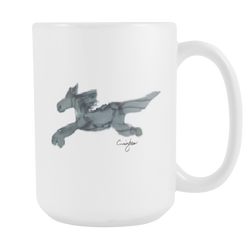 Flying Gray Horse in Watercolor (15oz White Mug) [NCH01]