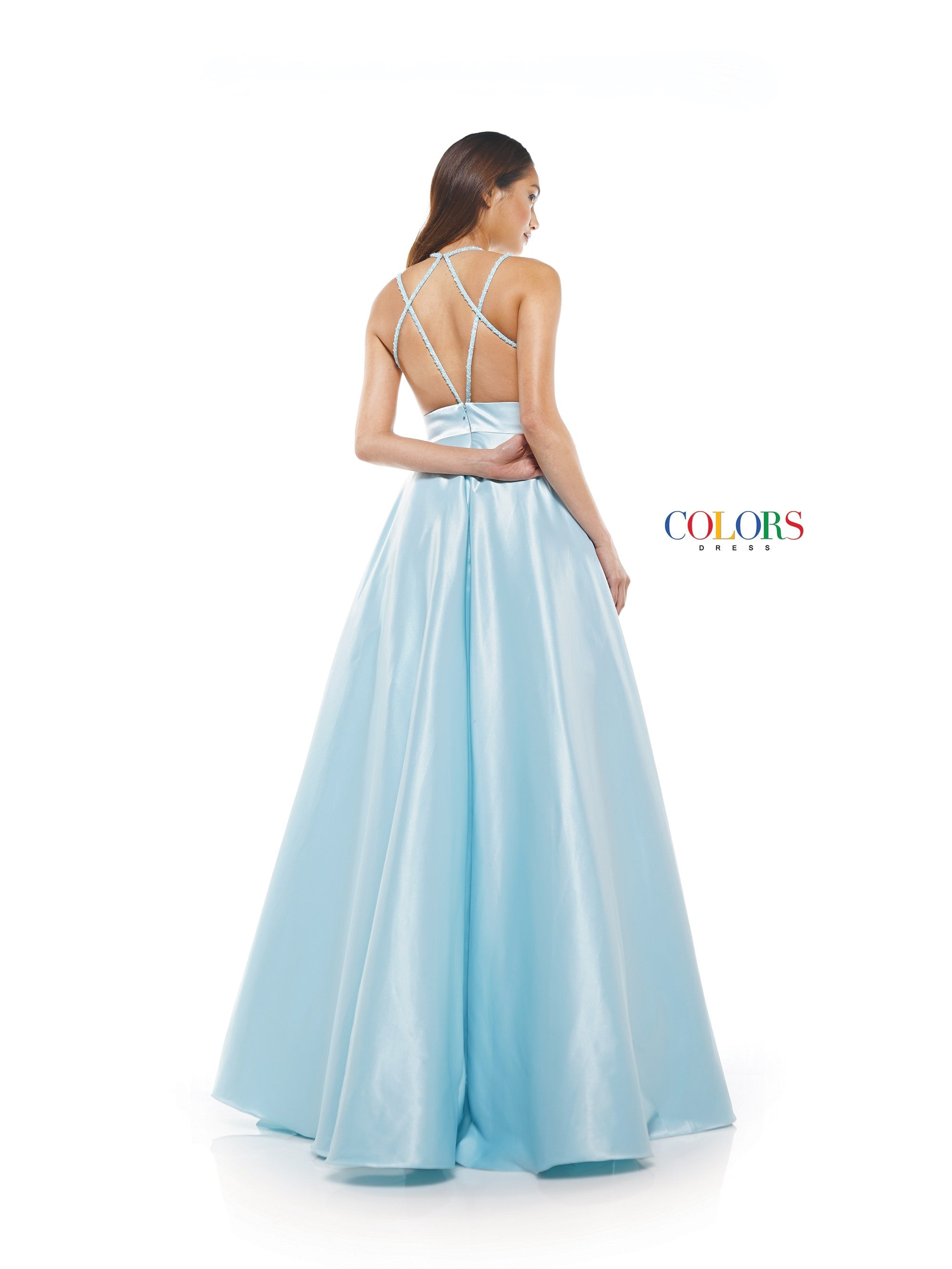 2221 - high neck A line satin dress with criss cross open back, pockets