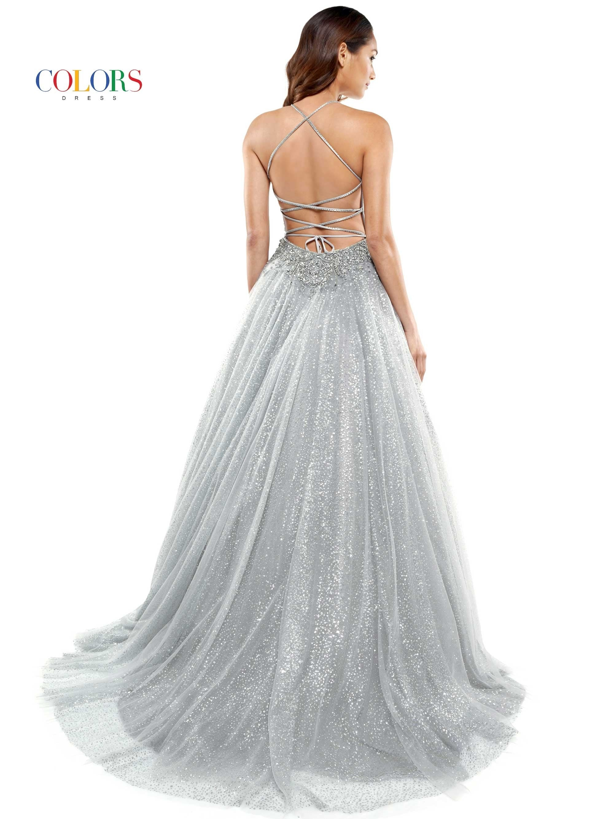2264 - beaded bodice glitter tulle ball gown with plunged neckline & beaded strappy back