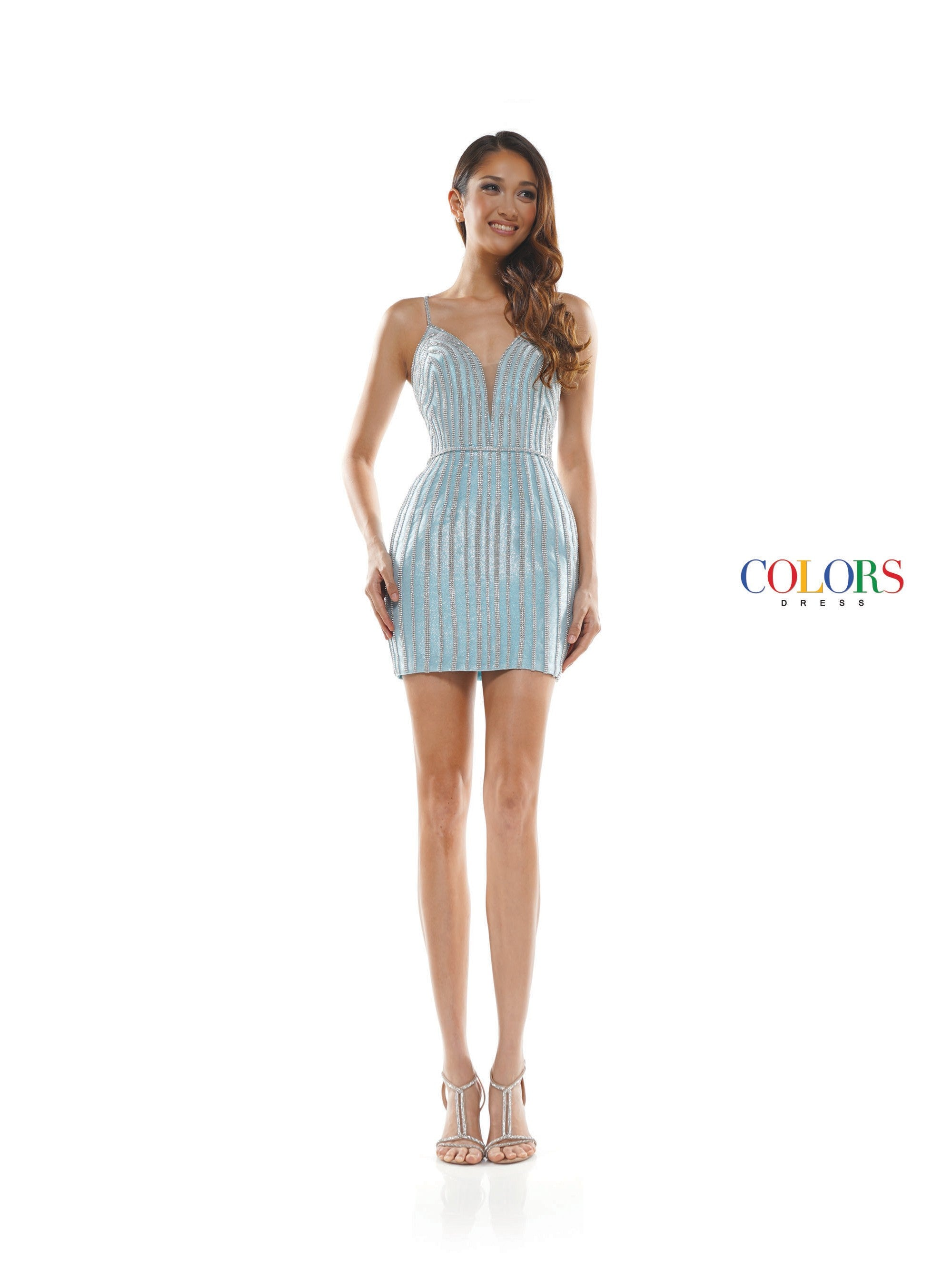 2369 - plunged sweet heart neckline glitter knit fitted short dress with stone tape deco & belt