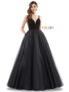 "2382 - 47"" tulle gown with beaded bodice & lace up back"