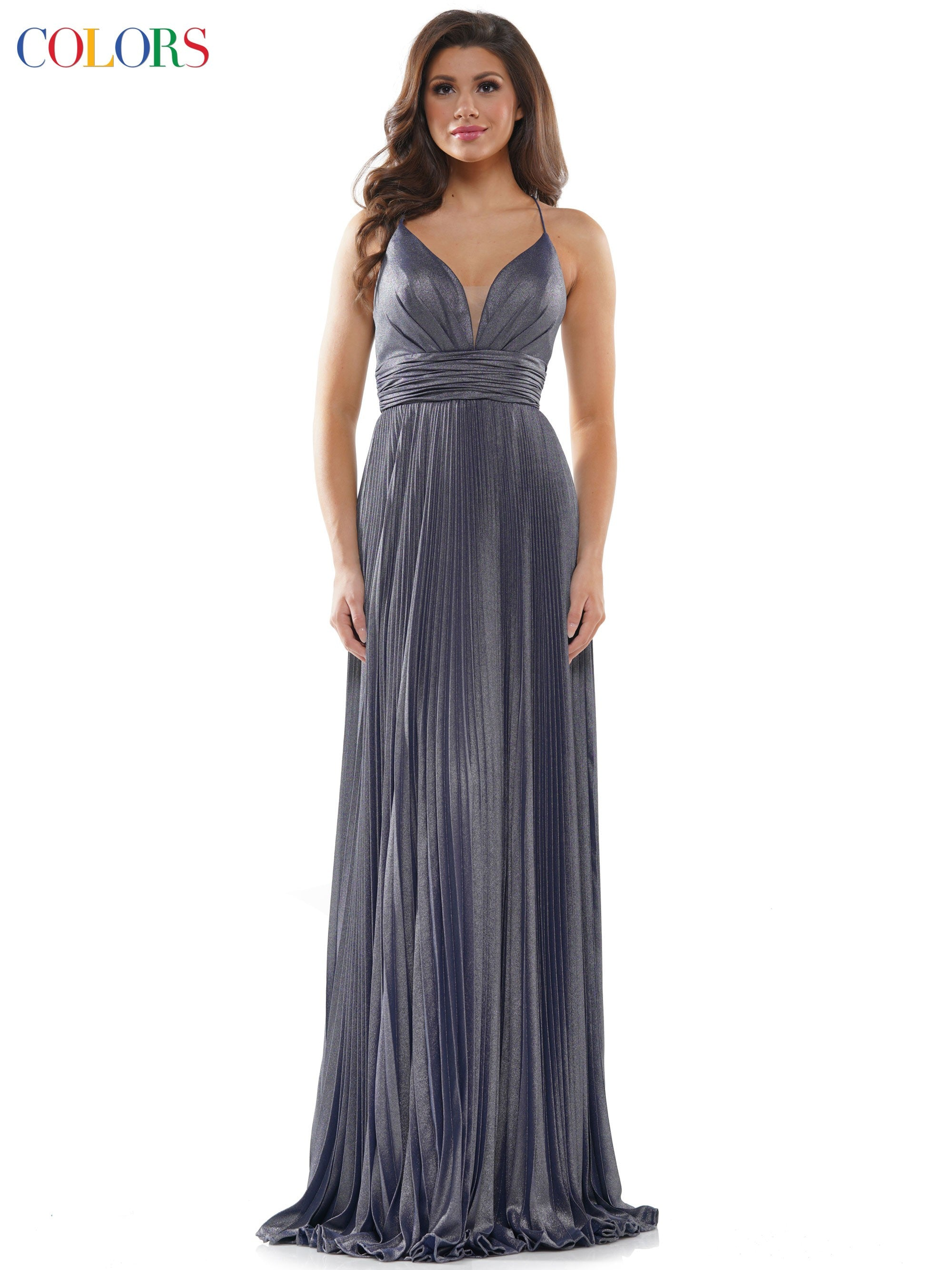 "2399 - 47"" Sunburst pleat foil chiffon  A line dress"