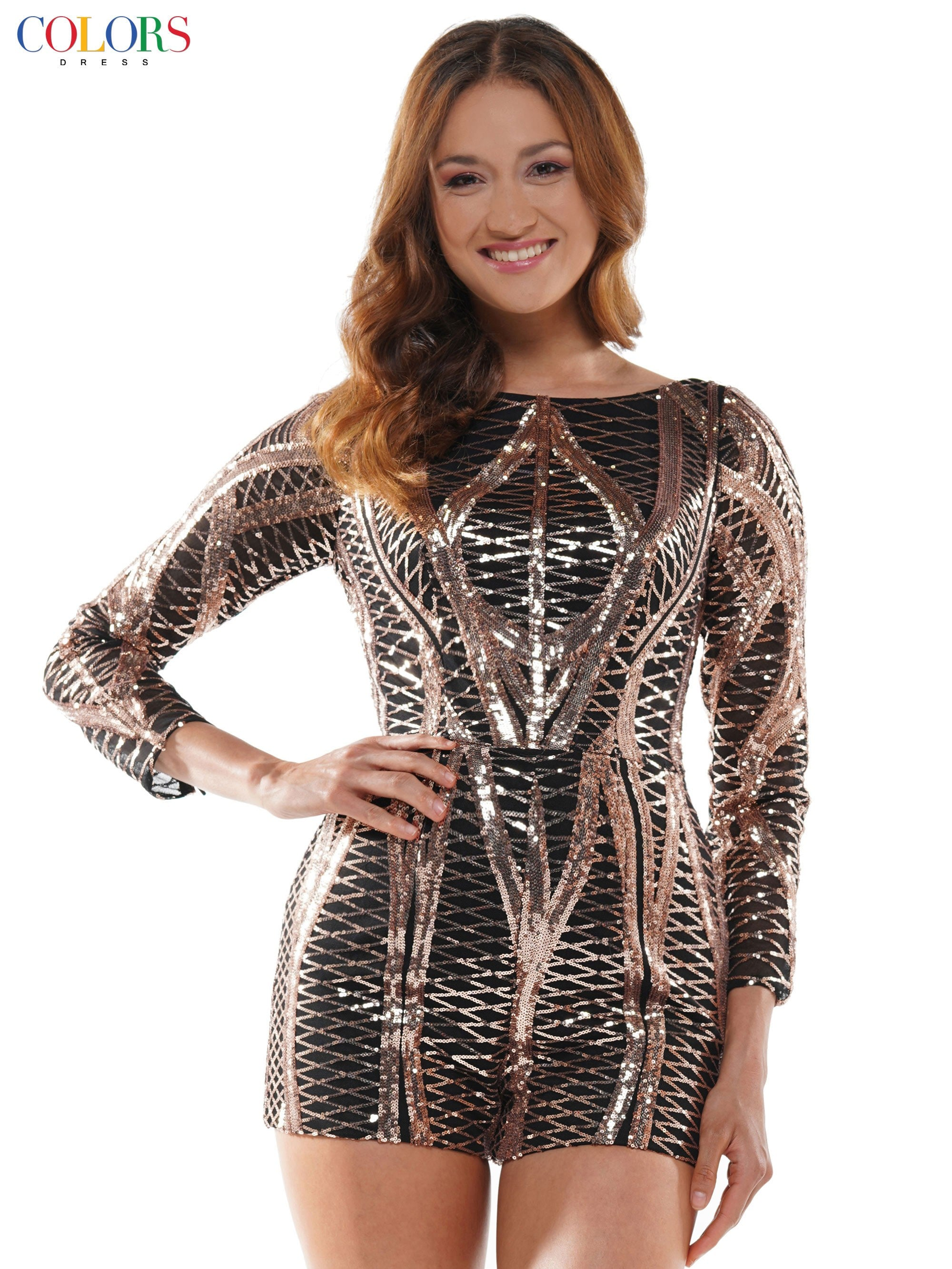 2416-Long sleeve sequin romper with glitter mikado over-wrap skirt