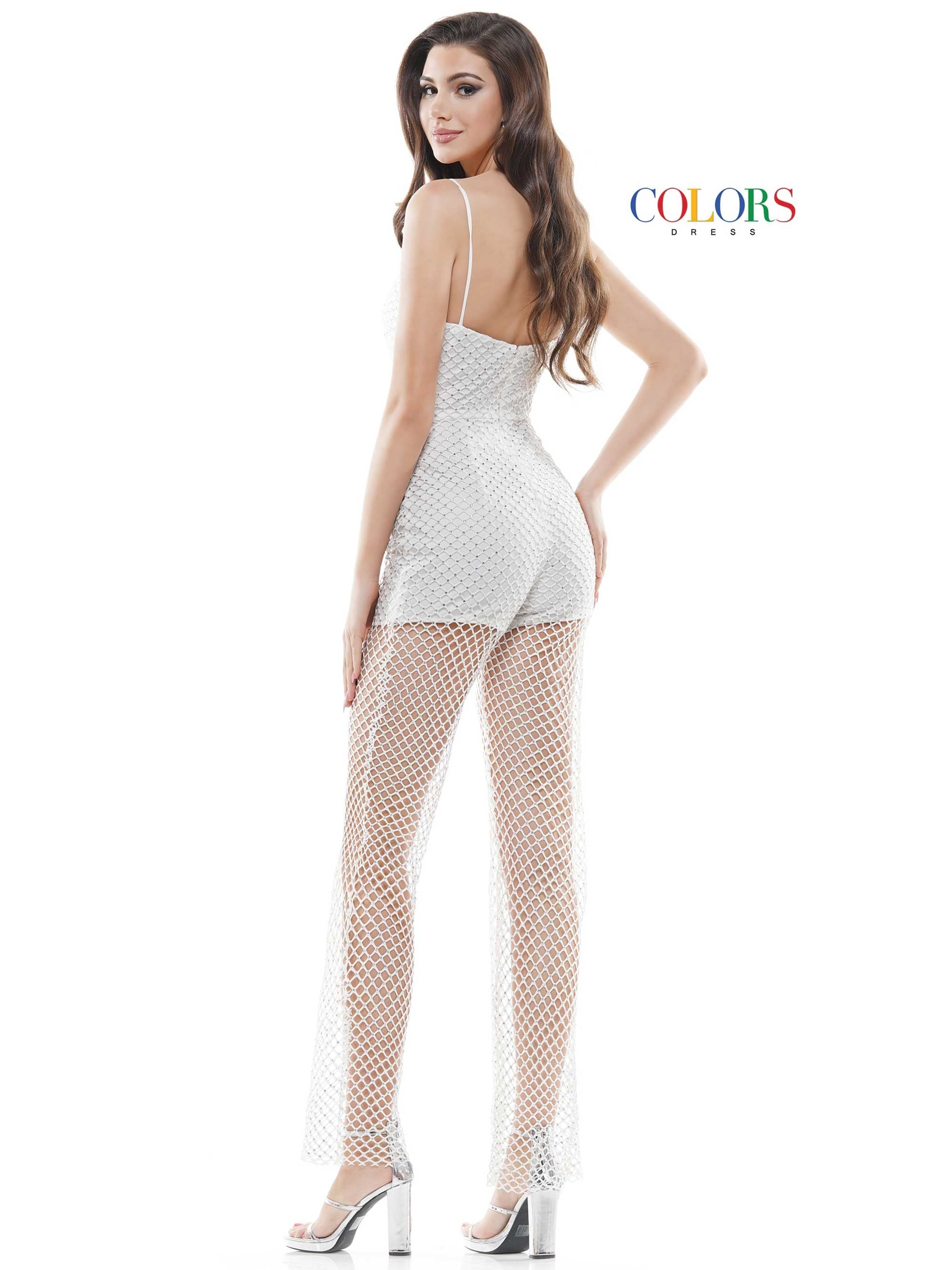 2439 -  rhinestone mesh jumpsuit with sheer leg, square neckline