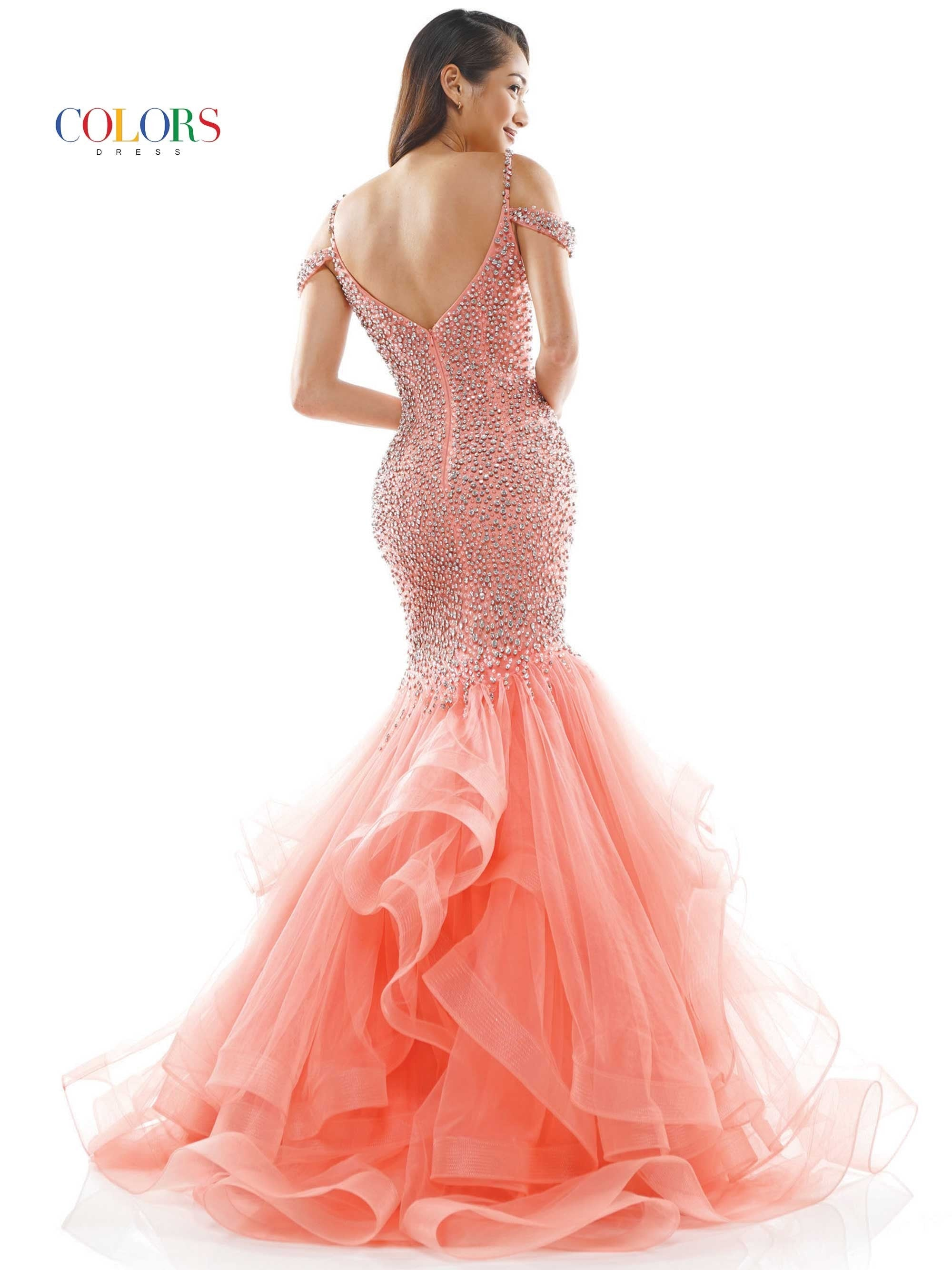 J126 - fully beaded mermaid dress with cascade ruffle skirt, plunged neckline with beaded straps
