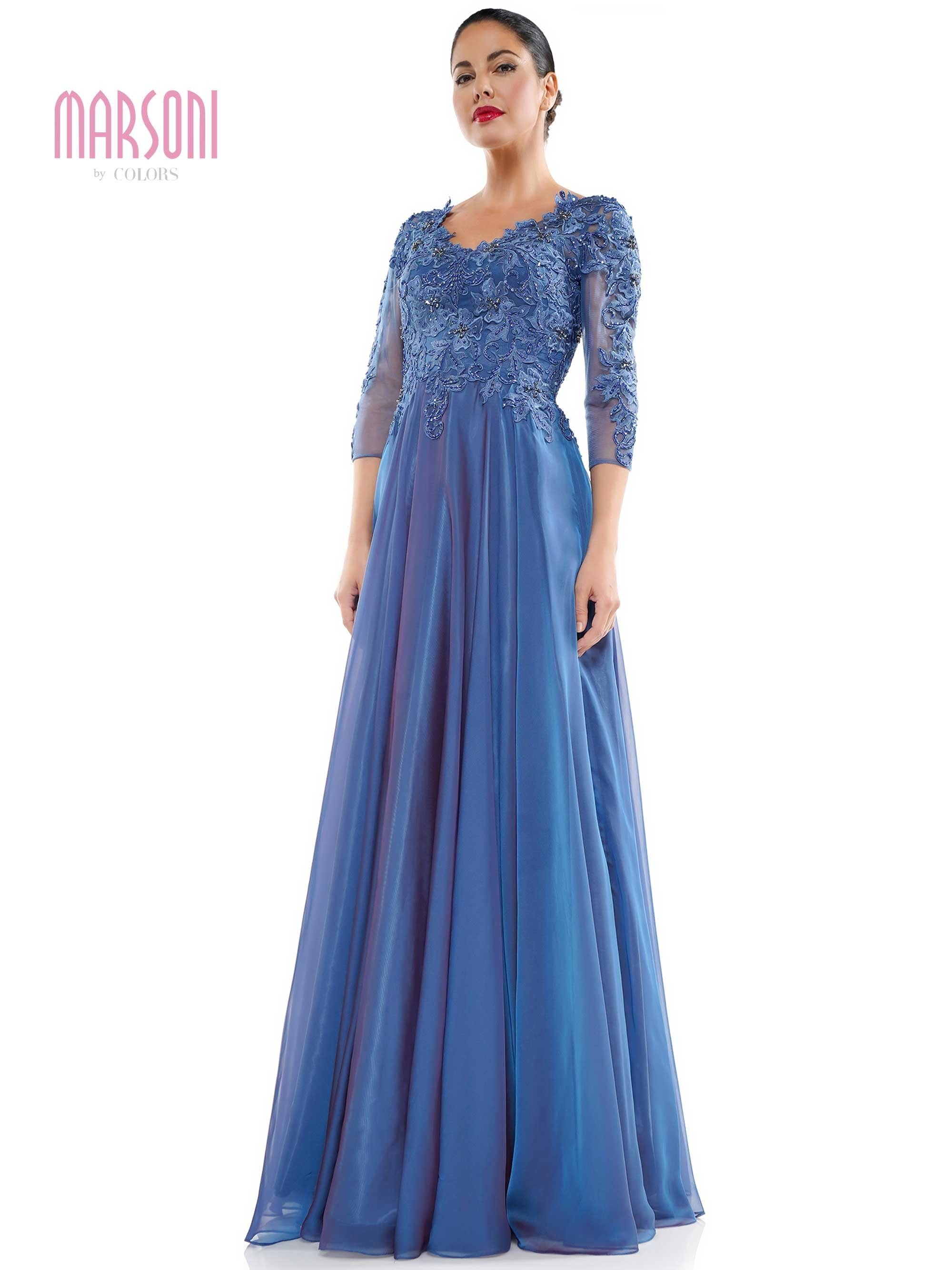 "M281 - 46"" 30D two tone chiffon A line dress with beaded - SLB"