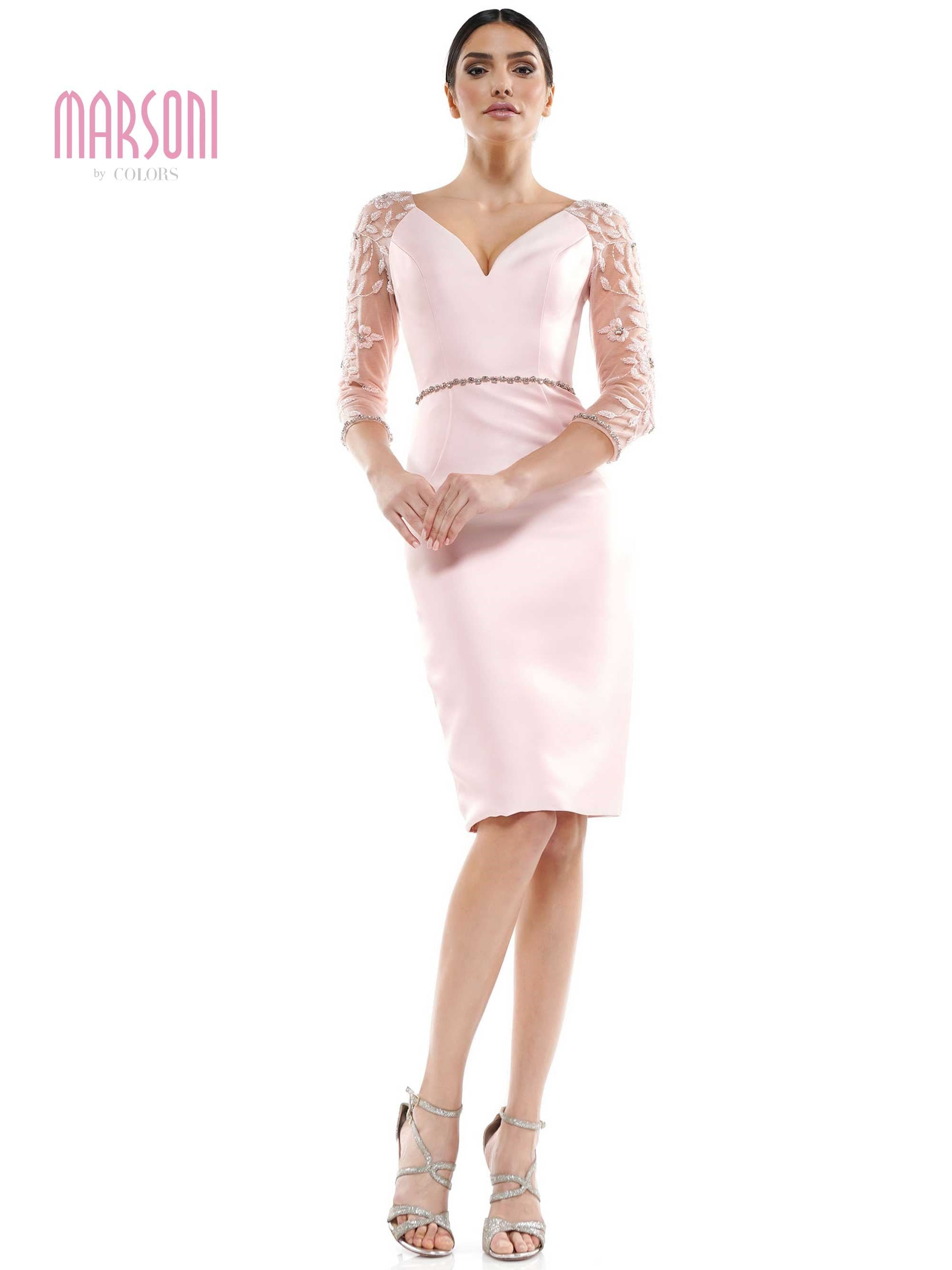 "25"" double faced satin fitted short dress with beade illusion sleeve, beaded belt"