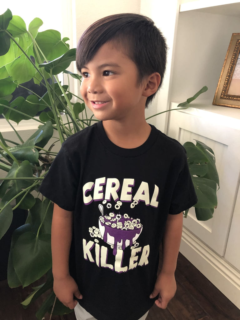 Cereal Killer (Kids) Kids T-Shirt Black Glow One Messy Bun
