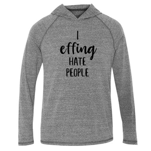 Effing Hood Tee L/S T-Shirt effing fleece fucking Gray hate One Messy Bun