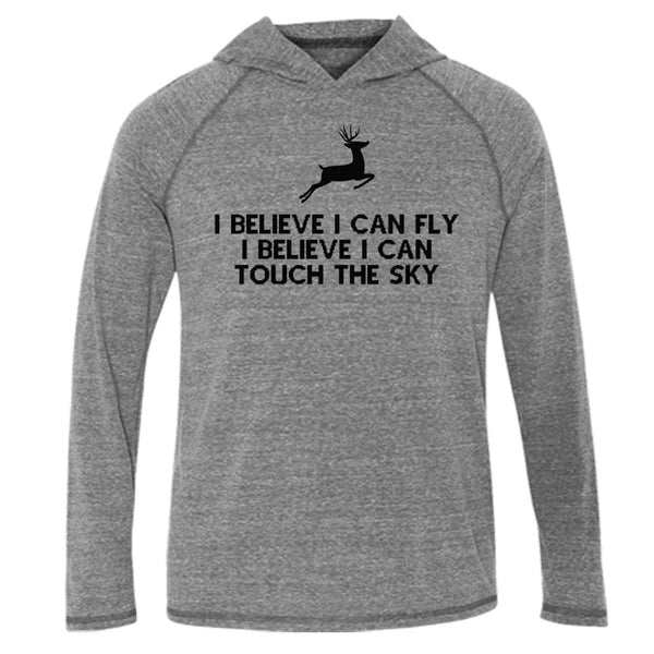 I Can Fly Hood Tee L/S T-Shirt christmas fleece Gray holiday One Messy Bun