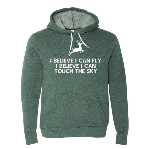 I Can Fly Hoodie christmas fleece Green holiday Hood One Messy Bun