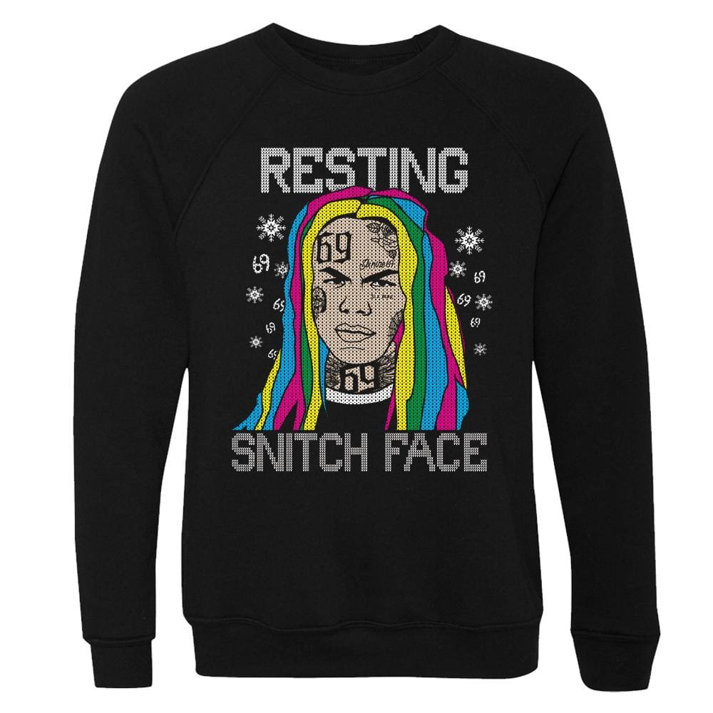 Resting Snitch Face Crewneck 69 christmas fleece holiday long sleeve One Messy Bun