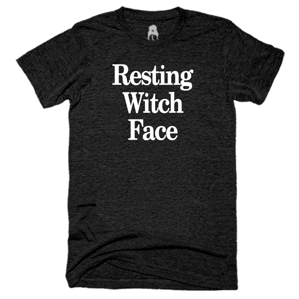 Resting Witch Face T-Shirt Black fall Gray halloween holiday One Messy Bun