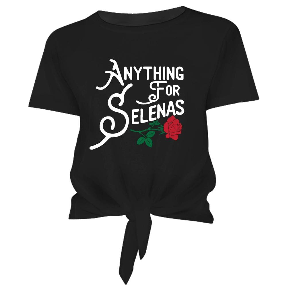 Selena Tie Front Womens Crop Tee anything for selena Black front tie j lo One Messy Bun