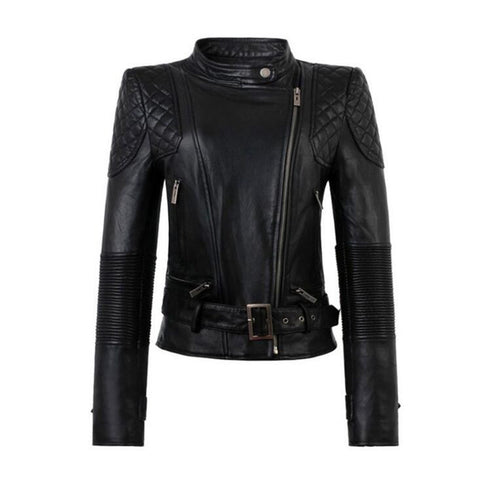 Slim Fit Leather Jacket For Women