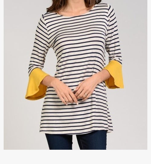 Mustard Stripe Top