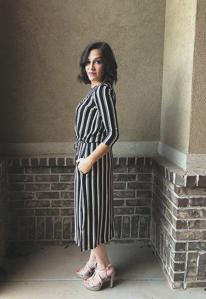 Clara Stripe Dress in Black