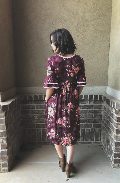 Eleanor Dress in Wine